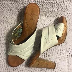 Naya Willa White Cork Heel Platforms